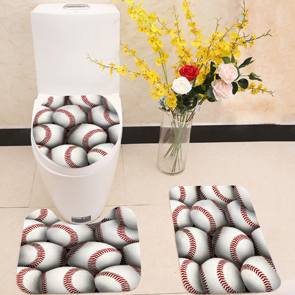 Baseball 3 Piece Toilet Cover Set