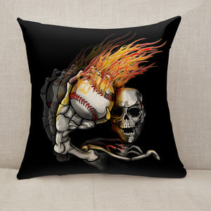 Skelton Throwing Flaming Baseball Throw Pillow [With Inserts]