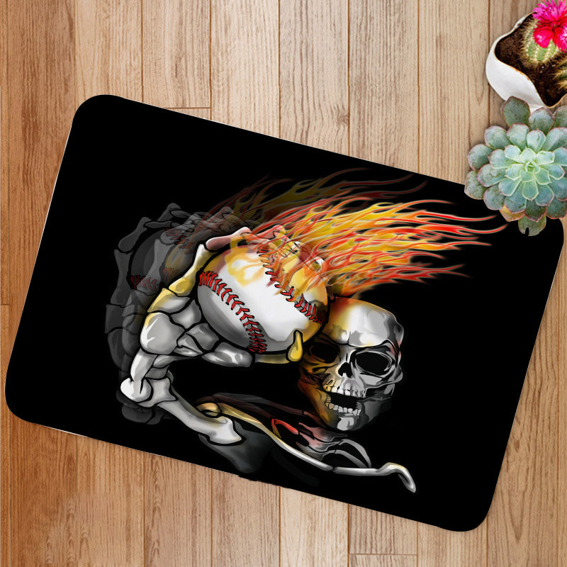 Skelton Throwing Flaming Baseball Bath Mat