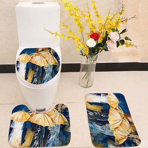 People with umbrellas 3 Piece Toilet Cover Set