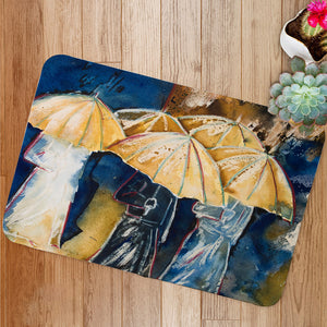 People with umbrellas Bath Mat