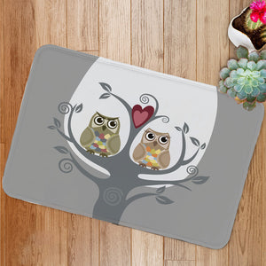 Two owls and love tree Bath Mat