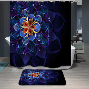 Abstract blue flower Shower Curtain