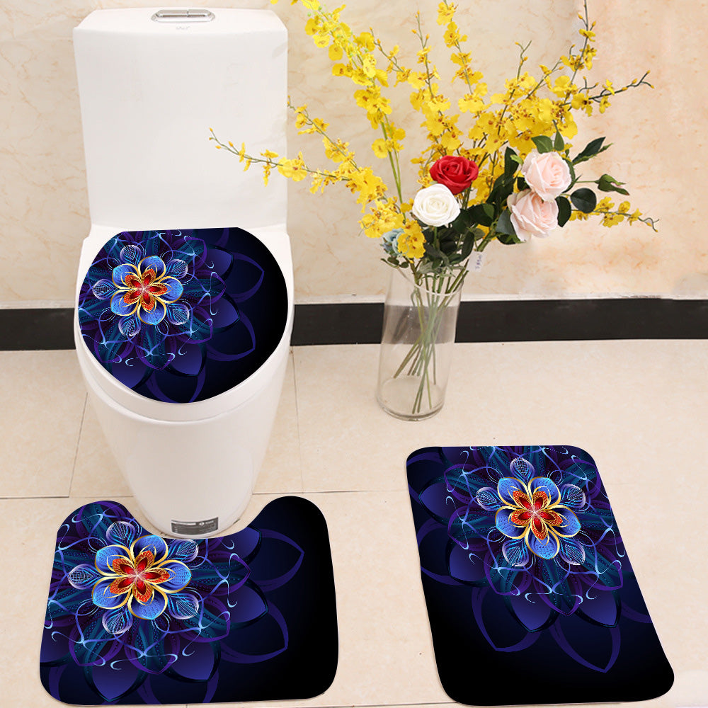 Abstract blue flower 3 Piece Toilet Cover Set