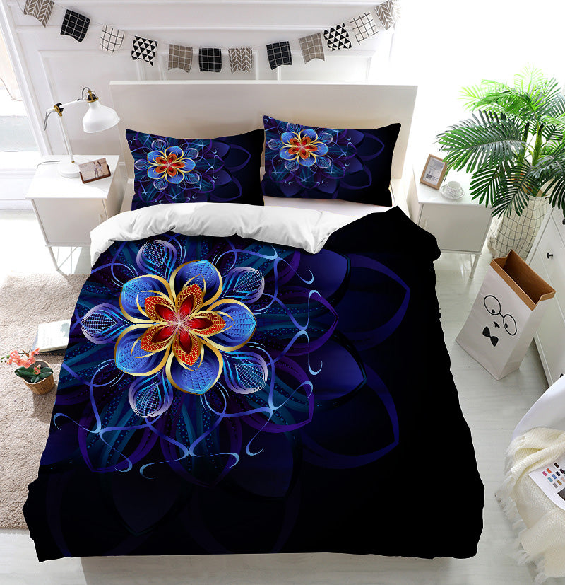 Abstract blue flower Duvet Cover Bedding Set
