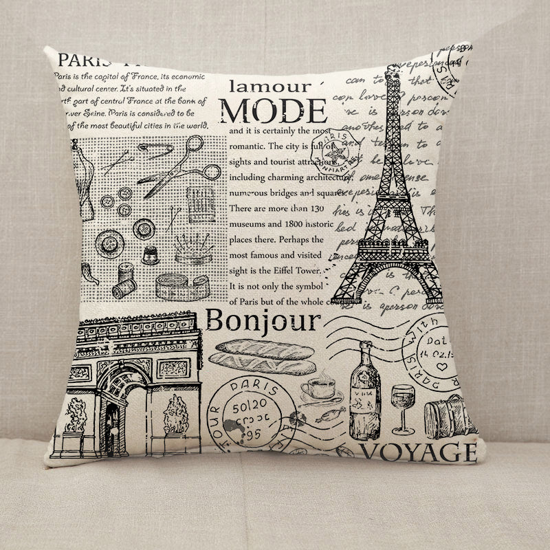 Paris Eiffel Tower newspaper Throw Pillow [With Inserts]