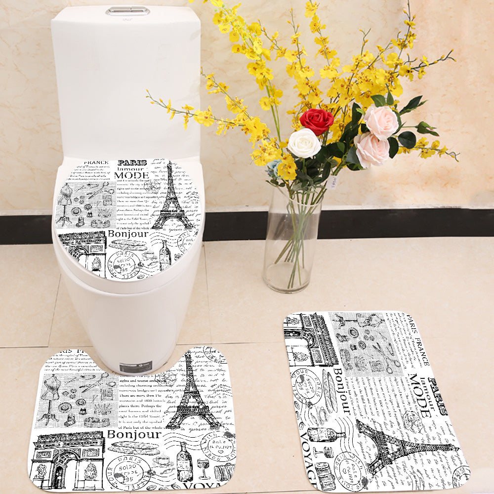Paris Eiffel Tower newspaper 3 Piece Toilet Cover Set