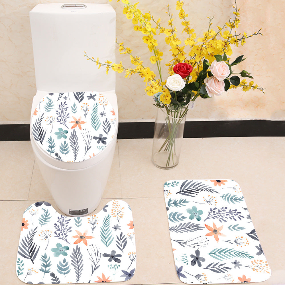 Watercolor Floral Seamless Pattern 3 Piece Toilet Cover Set