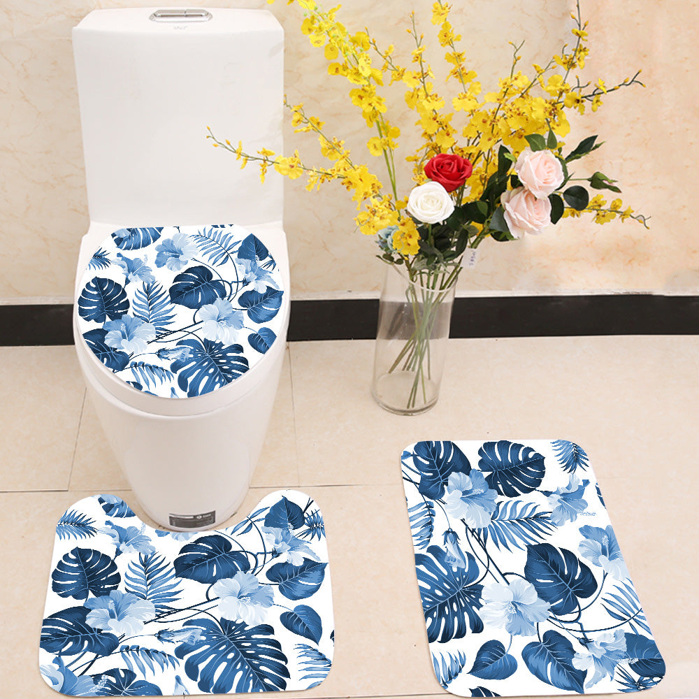 Topical palm leaves 3 Piece Toilet Cover Set