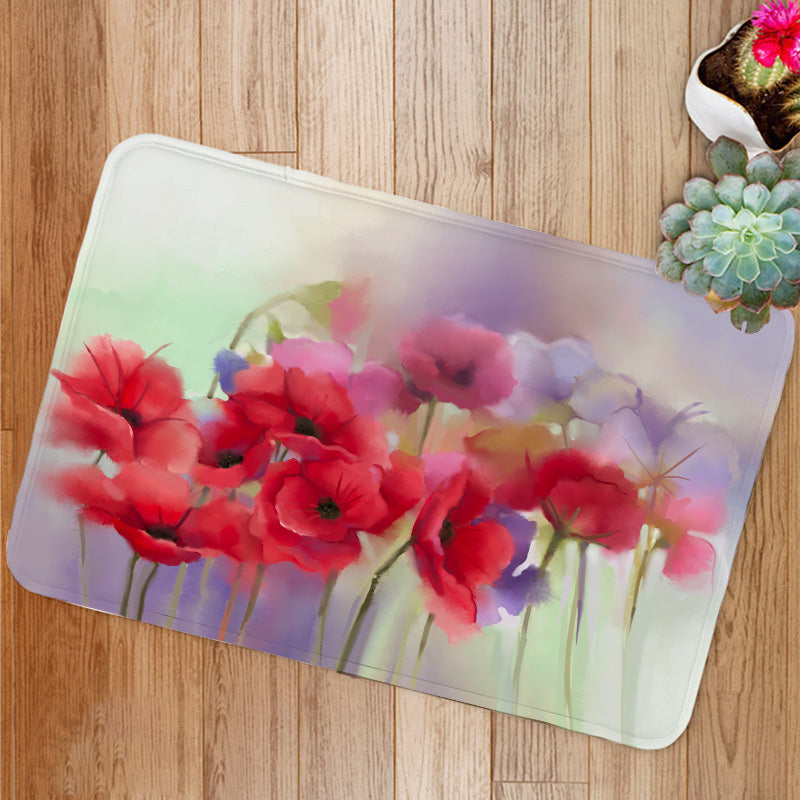 Watercolor red poppy flowers painting Bath Mat