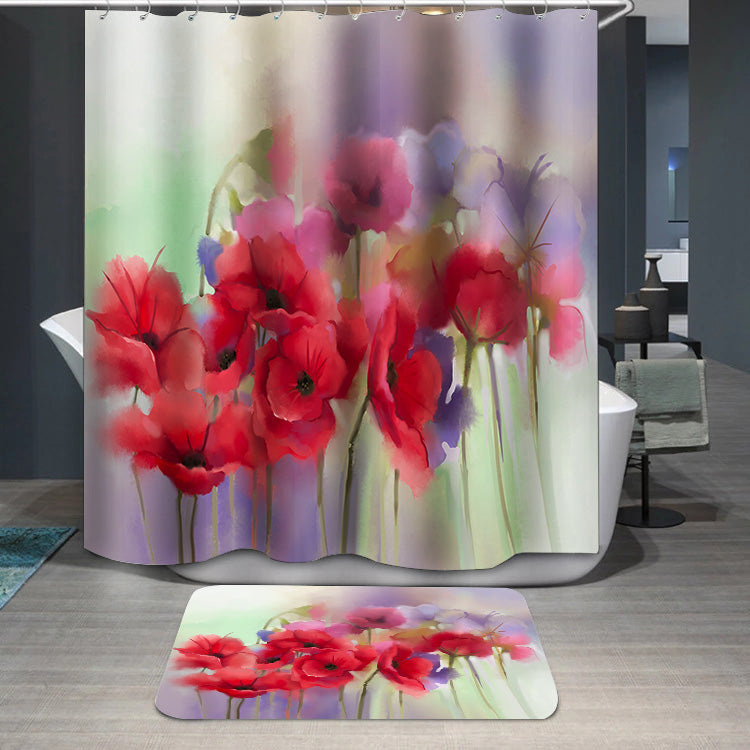 Watercolor red poppy flowers painting Shower Curtain