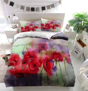 Watercolor red poppy flowers painting Duvet Cover Bedding Set