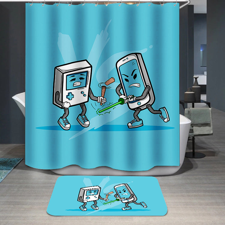 Smart Phone Vs Old Game Console Shower Curtain