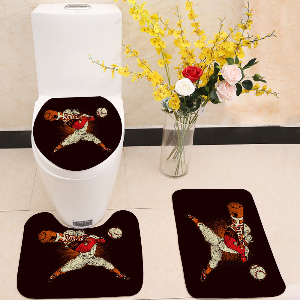 Angry baseball player 3 Piece Toilet Cover Set