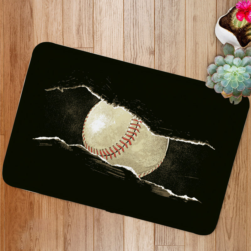 Baseball ball behind a rip Bath Mat