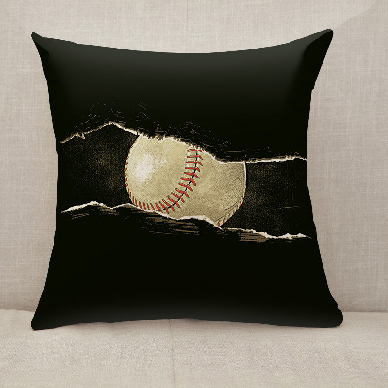 Baseball ball behind a rip Throw Pillow [With Inserts]