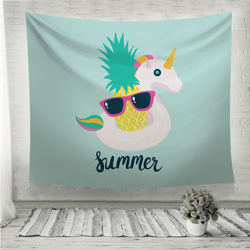 Summer unicorn pineapple Wall Tapestry