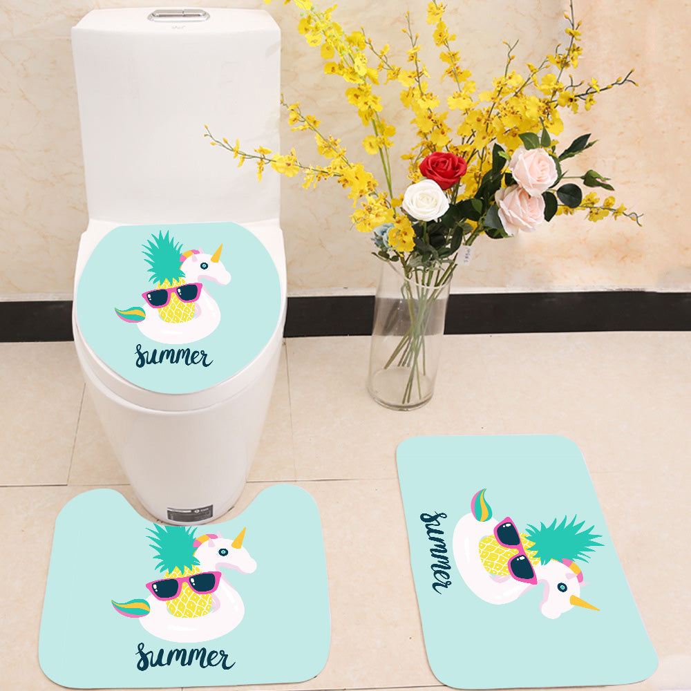 Summer unicorn pineapple 3 Piece Toilet Cover Set