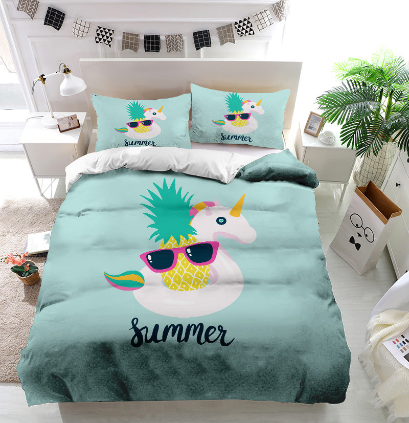 Summer unicorn pineapple Duvet Cover Bedding Set