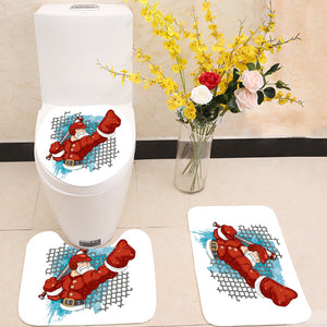 Santa Claus Baseball Player  3 Piece Toilet Cover Set