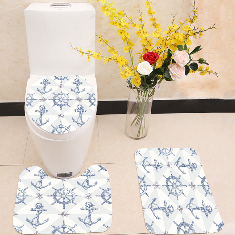 Steering wheel and anchor  3 Piece Toilet Cover Set