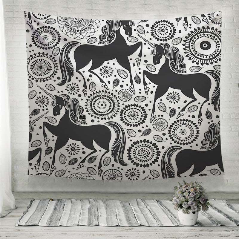 Unicorns on a floral background Wall Tapestry