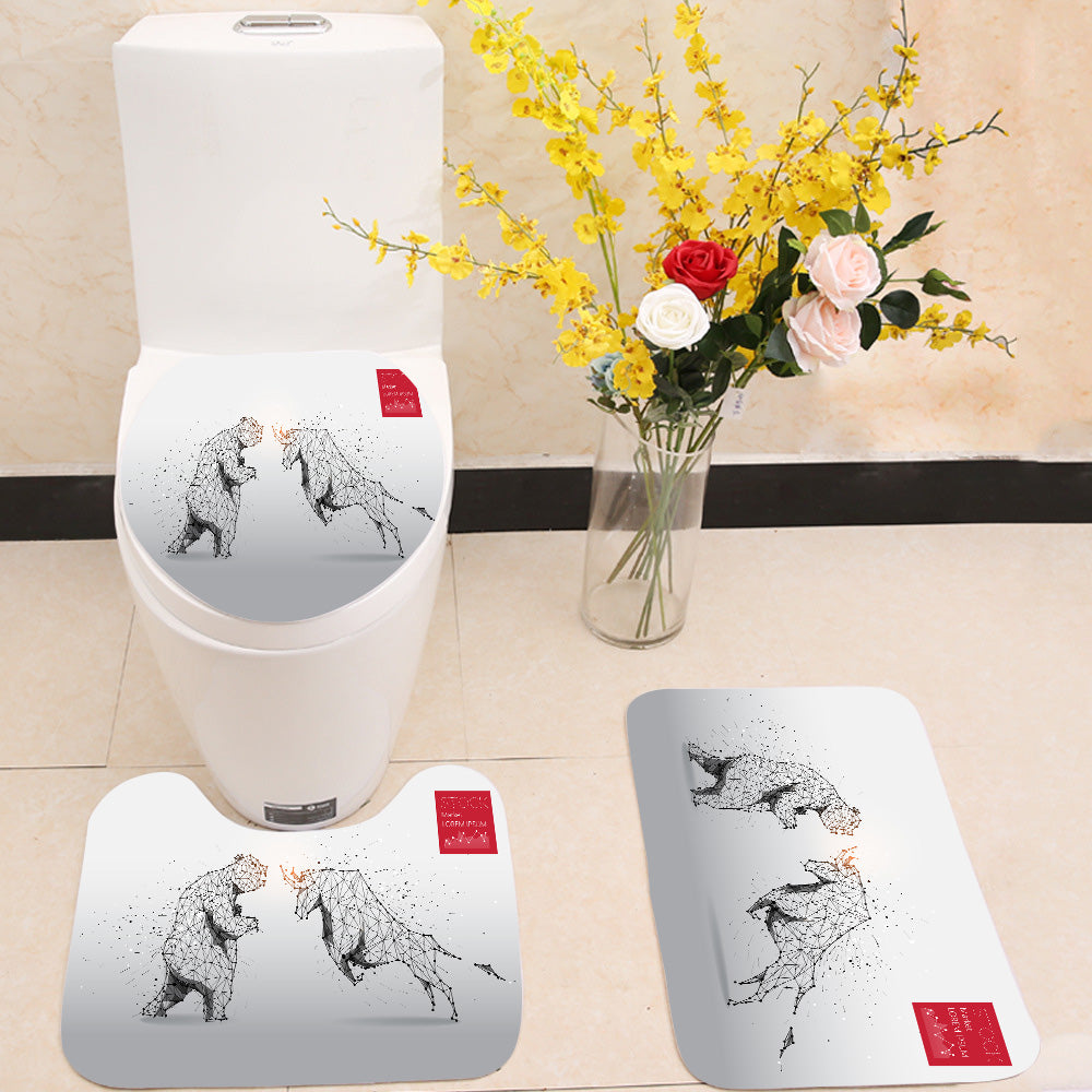 Bear and bull 3 Piece Toilet Cover Set