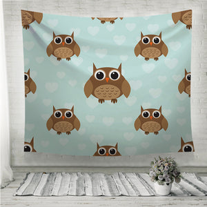 Seamless cute owl pattern Wall Tapestry