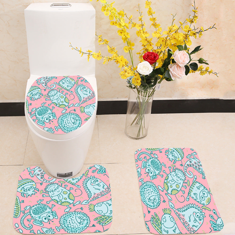 Seamless funny monsters 3 Piece Toilet Cover Set