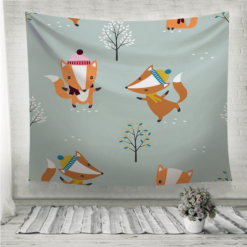 Foxes in hats and scarf Wall Tapestry