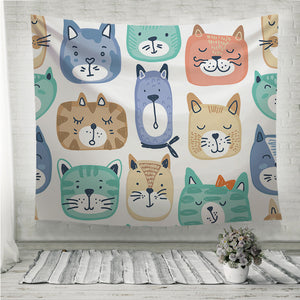 Colorful cat faces Wall Tapestry