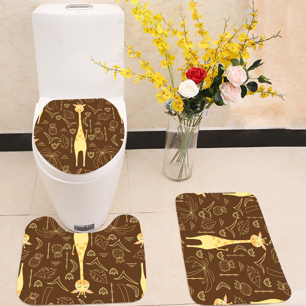 Giraffe pineapples palm trees 3 Piece Toilet Cover Set
