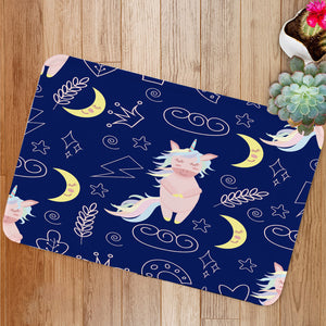 Pink unicorn moon Bath Mat