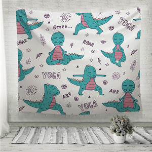 Dinosaur in yoga asanas Wall Tapestry