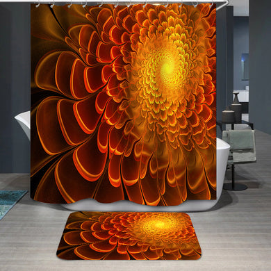 Sunny fractal flower Shower Curtain