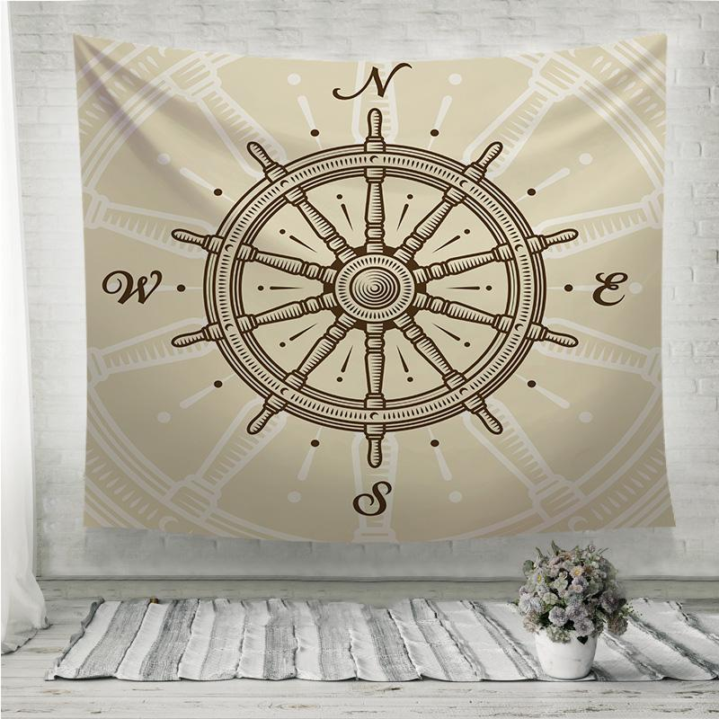 Vintage ship wheel Wall Tapestry