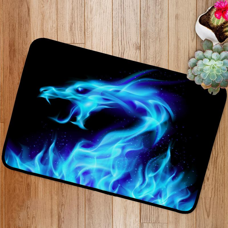 Blue fire Dragon Bath Mat