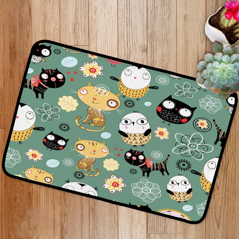 Pattern of cats and owls Bath Mat