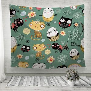 Pattern of cats and owls Wall Tapestry