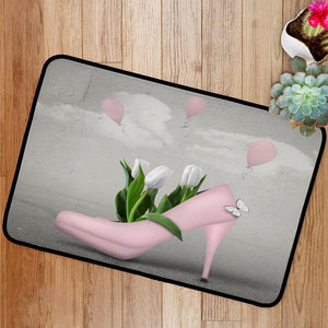 Spring pink shoe and tulips Bath Mat