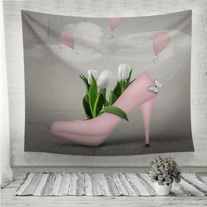 Spring pink shoe and tulips Wall Tapestry
