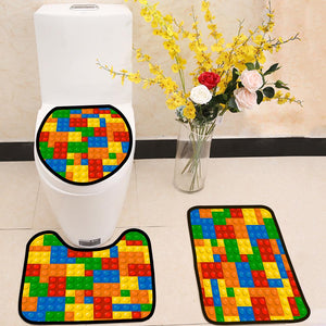 Lego Blocks 3 Piece Toilet Cover Set