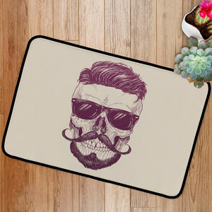 Hipster skull with sunglasses Bath Mat