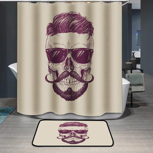 Hipster skull with sunglasses Shower Curtain