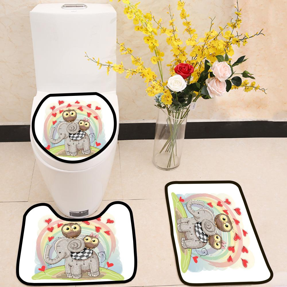 Elephant and Two Owls 3 Piece Toilet Cover Set