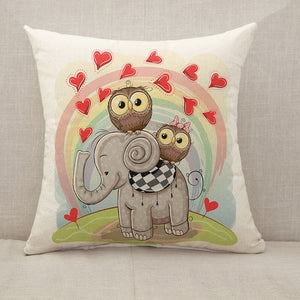 Elephant and Two Owls Throw Pillow [With Inserts]