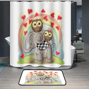 Elephant and Two Owls Shower Curtain
