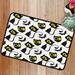 Black cats and owls Bath Mat