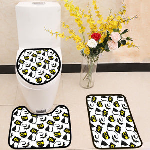 Black cats and owls 3 Piece Toilet Cover Set