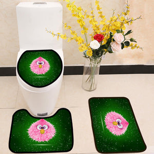 Funny Pink Baby Hairy Monster 3 Piece Toilet Cover Set